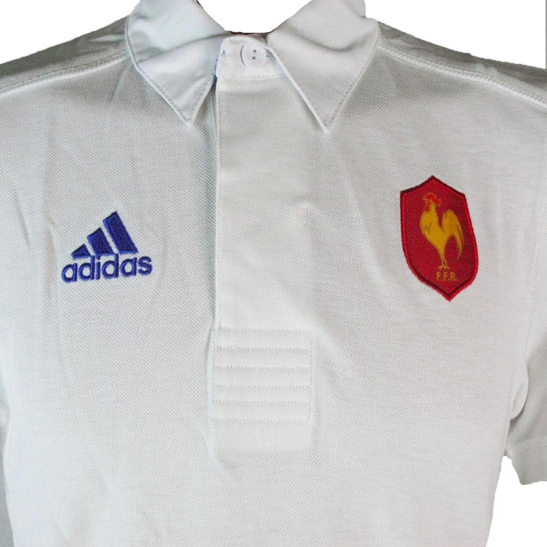 Détails sur Adidas France Hommes Rugby Polo Blanc Manche Courte Sports Haut Jersey 2013 14
