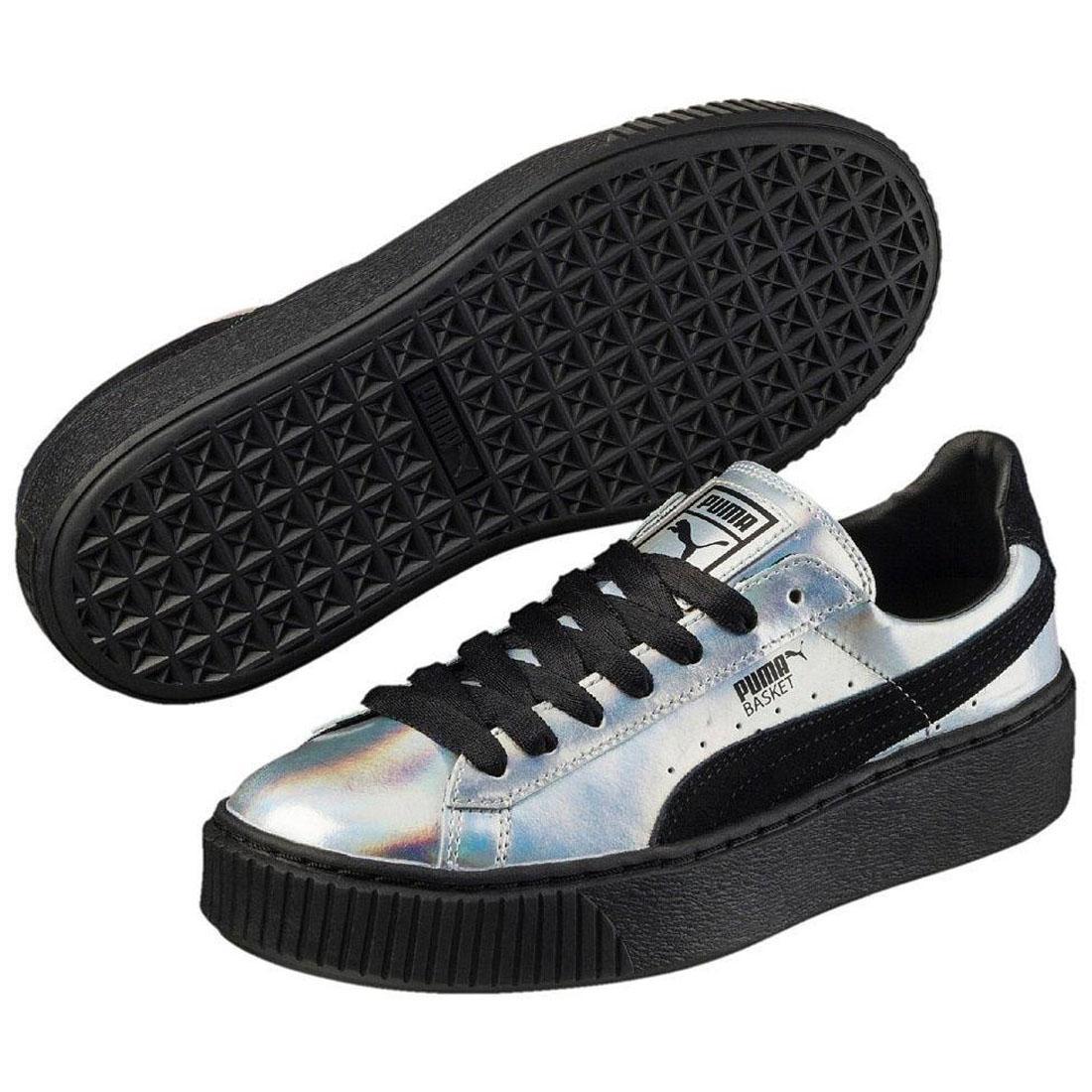 buy popular 8c6c7 650a9 Details about PUMA Basket Trainers Platform Explosive Metallic Silver  Womens Sports Shoes