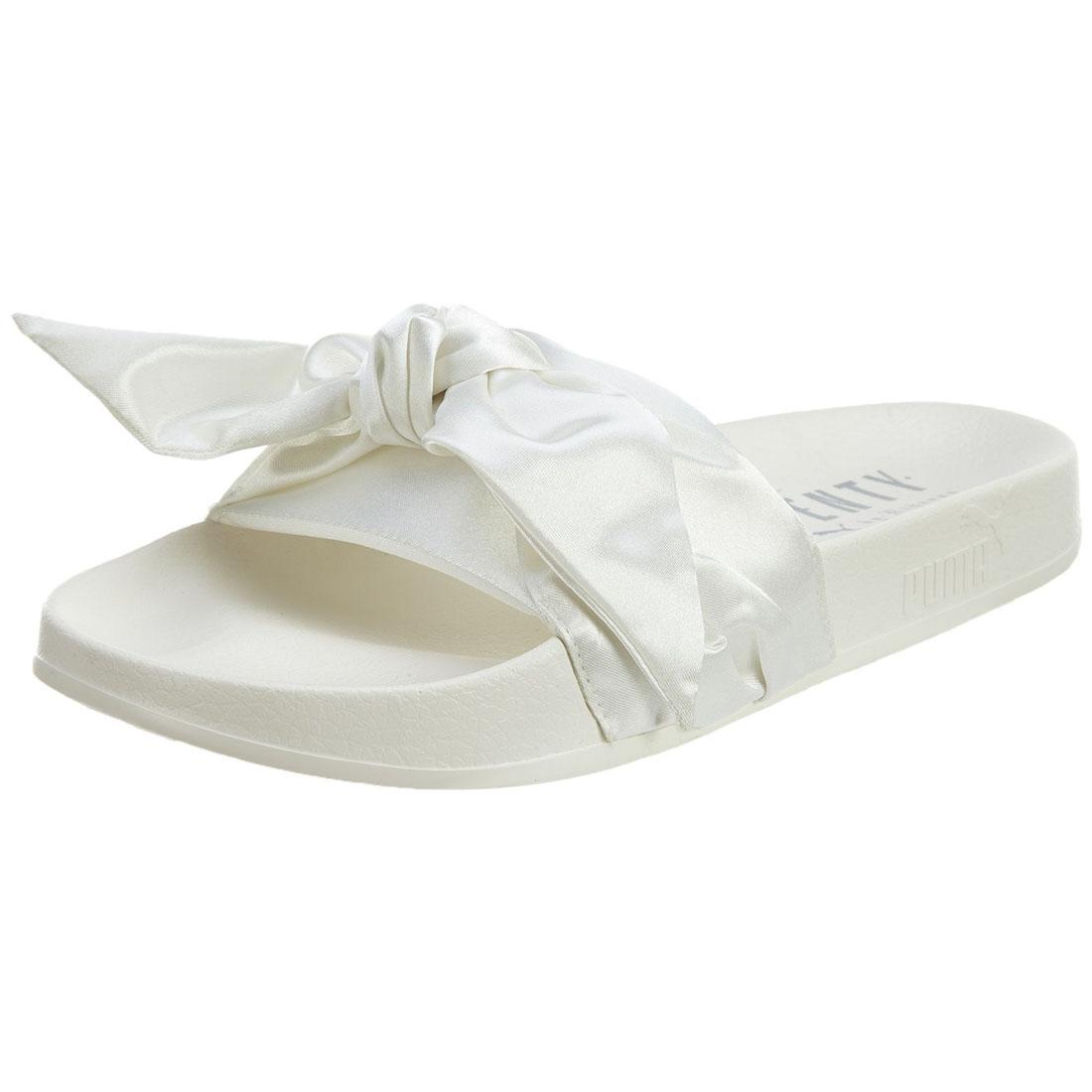 PUMA Fenty X By Rihanna Womens Bow Slides Ladies White Flip Flops ... dde155443fa