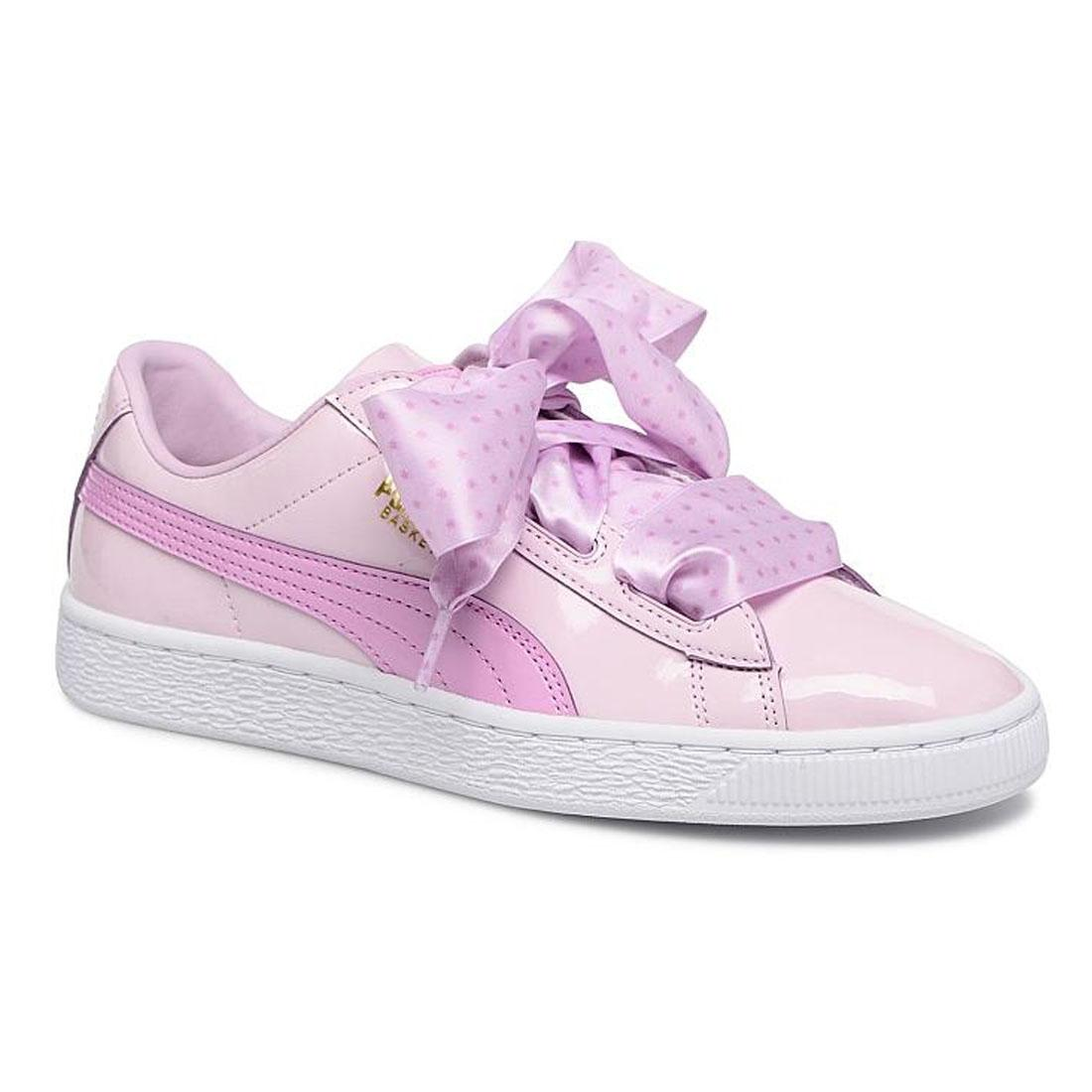 huge selection of 033a7 140a6 Details about PUMA Basket Heart Stars Patent Bow Childrens Trainers Kids  Pink Girls Shoes