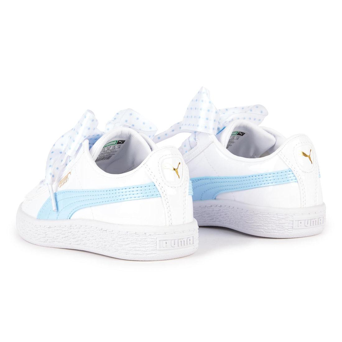 PUMA Basket Heart Stars Bow Childrens Trainers Kids Pink White Blue Girls Shoes