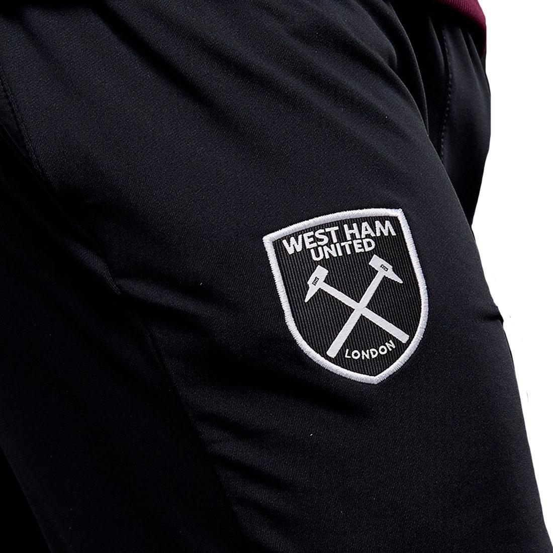West Ham United Black Mens Tapered Slim Fit Football Training Track Pants