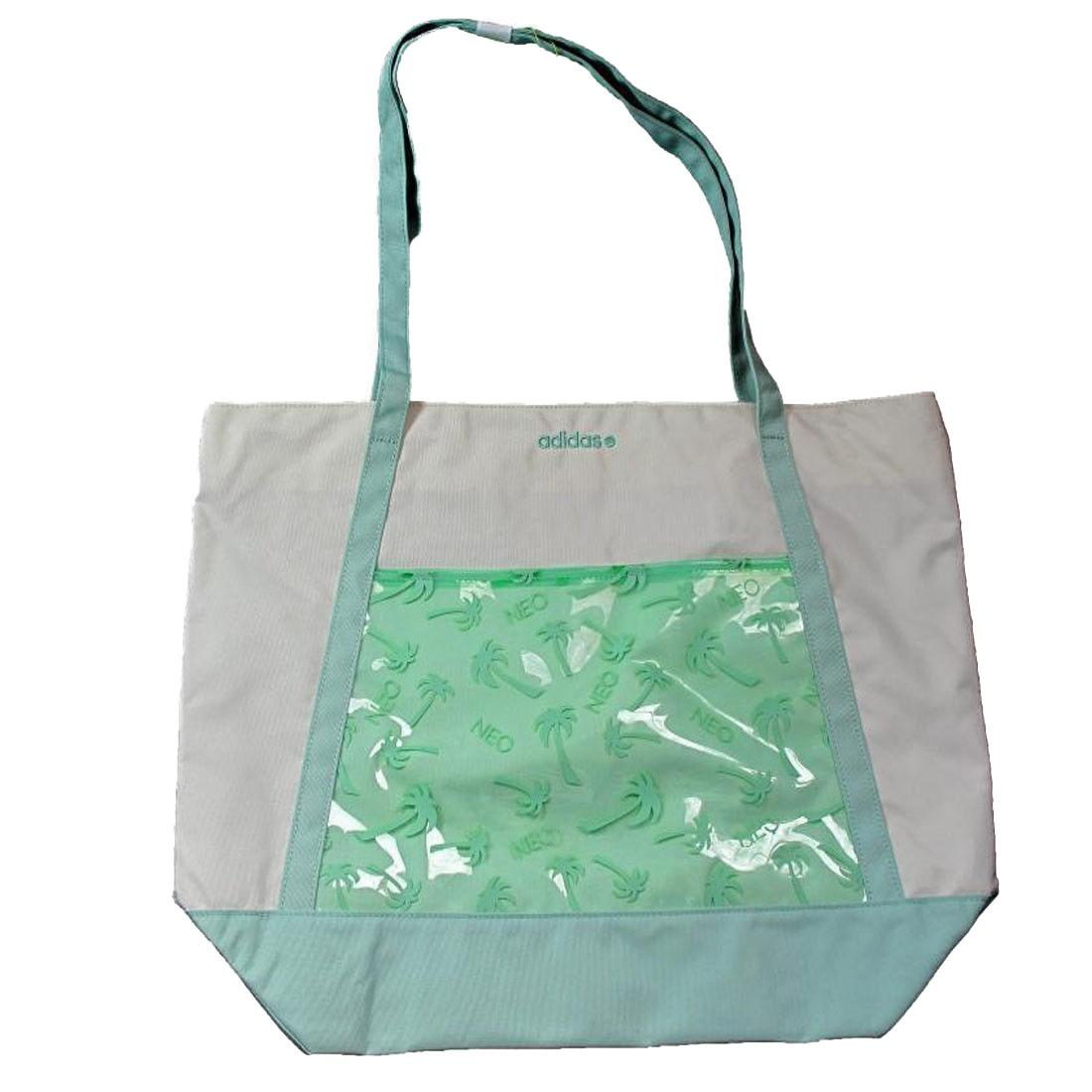 5d1018c44e1d Details about adidas Womens Tote Bag Beige Green Neo Beach Tote Hand Carry  Straps Holdall