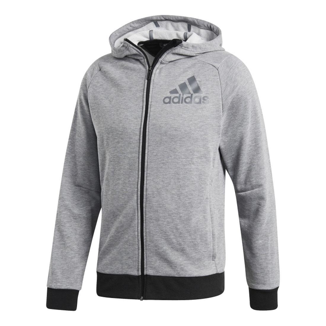 e158b7dea35df Adidas Mens gris negro con capucha gimnasio primer completo Zip deportes  Fitness sudadera S-XL