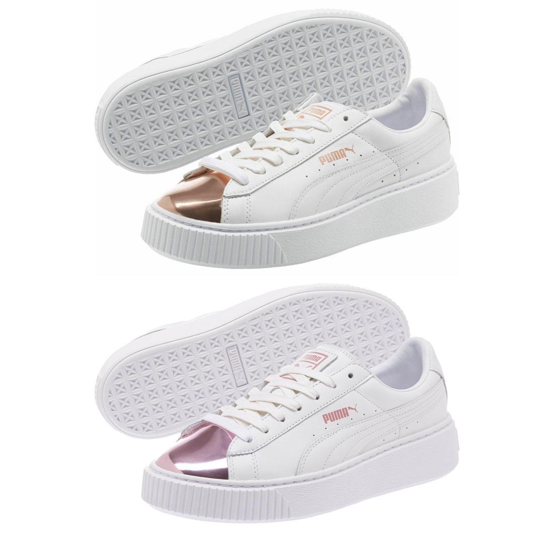 newest a6eb9 15620 Details about PUMA Basket Platform Trainers White Gold Metallic Rose Lilac  Ladies Shoes