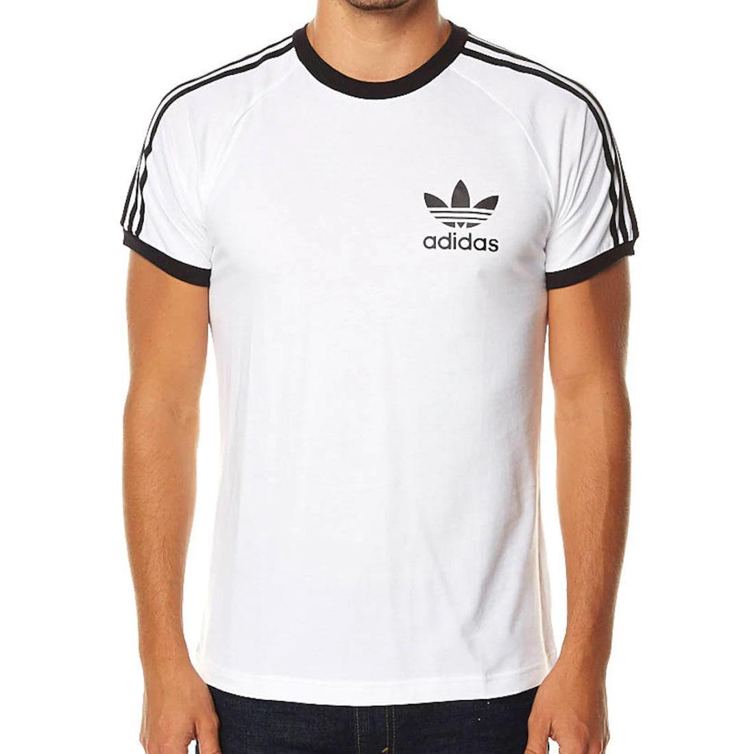 Details about adidas originals T Shirt Ess Essentials Sport Tee Mens White Black Crew 3 Stripe