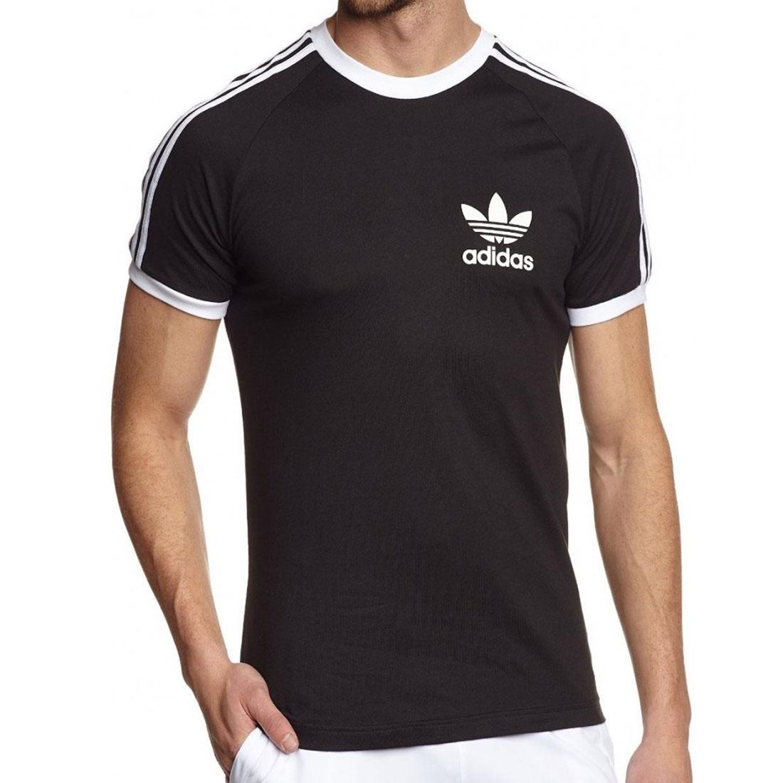 Détails sur Adidas Originaux Essentials T Shirt Blanc Noir Rouge Bleu 3 Rayure Sport T Shirt