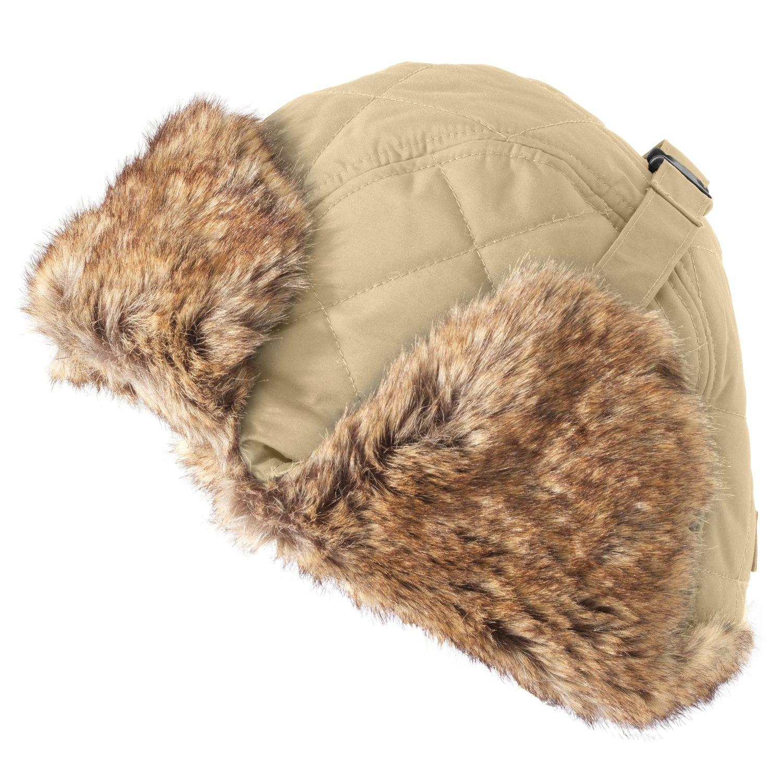 Timberland Trapper Hat Unisex Nylon Sandstone Winter Fur Strap On Fleece  Size XS 58fc36ce22f9