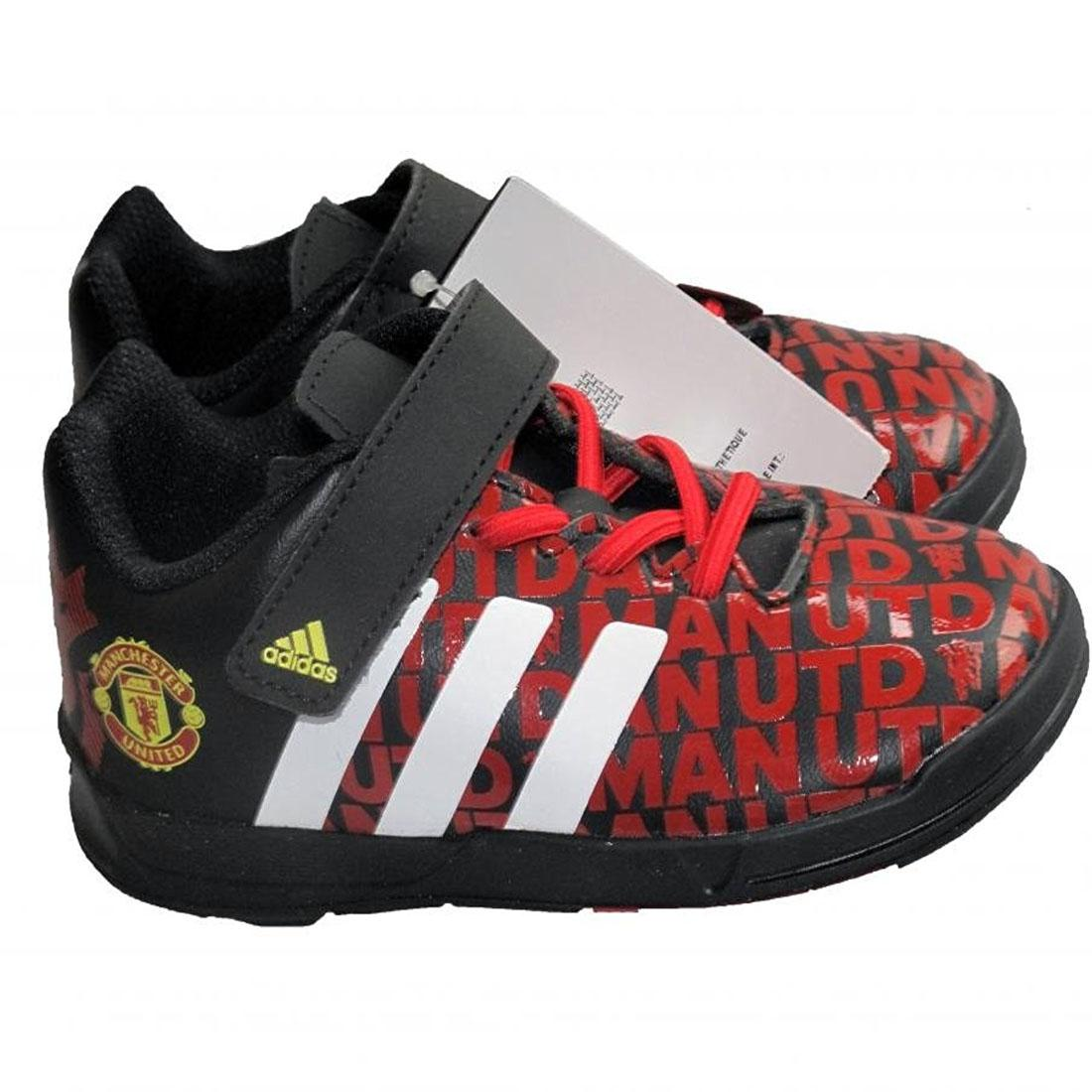 Manchester United FC Football Trainers Infants adidas Black Red Sports Shoes 6077f85dc16ce