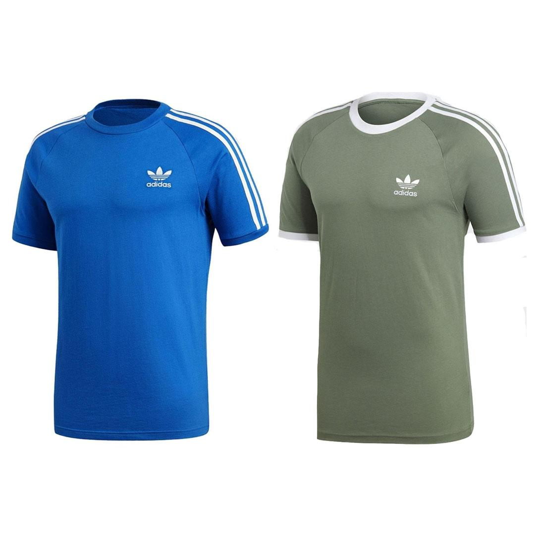 Details about adidas originals California Tee Mens Blue Green 3 Stripe Sports Gym T Shirt
