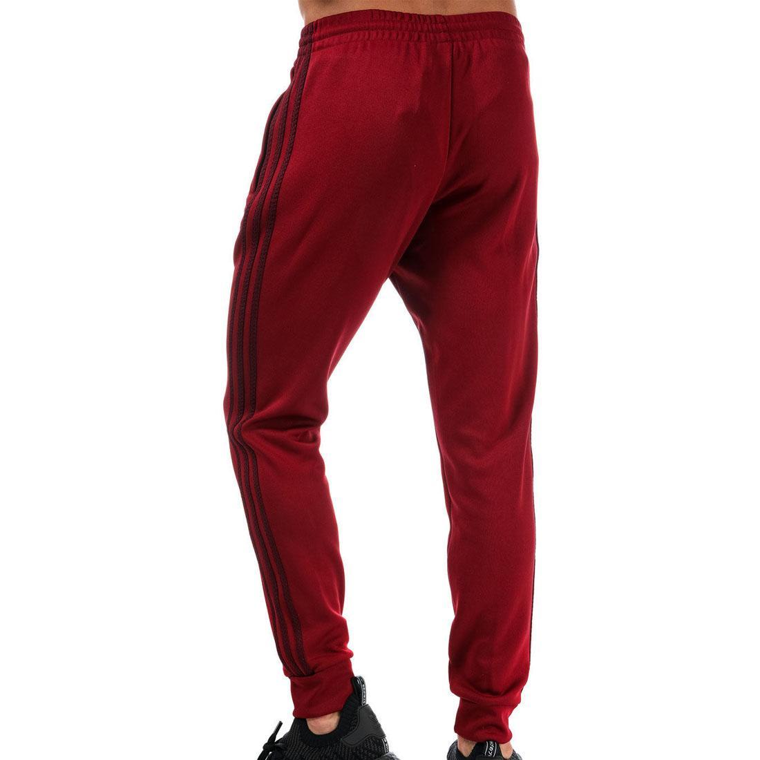 fae9fa594353 Details about adidas originals Mens Burgundy Tracksuit Pants Classic Slim  Fit Bottoms XS