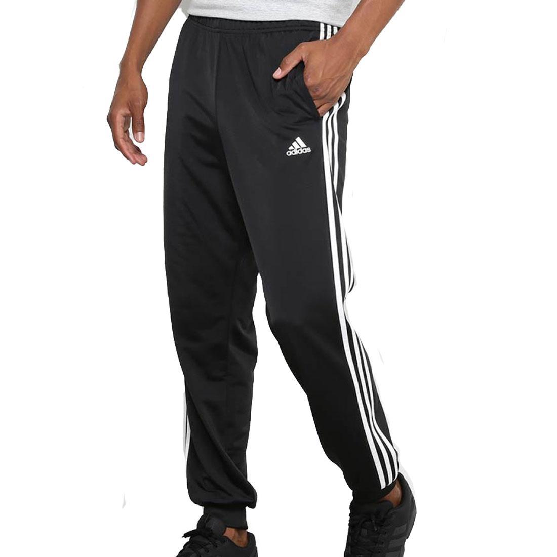 Details about Adidas Essentials 3 Rayure Hommes Piste Pantalon Fuseau Sport Gym Fitness Bas