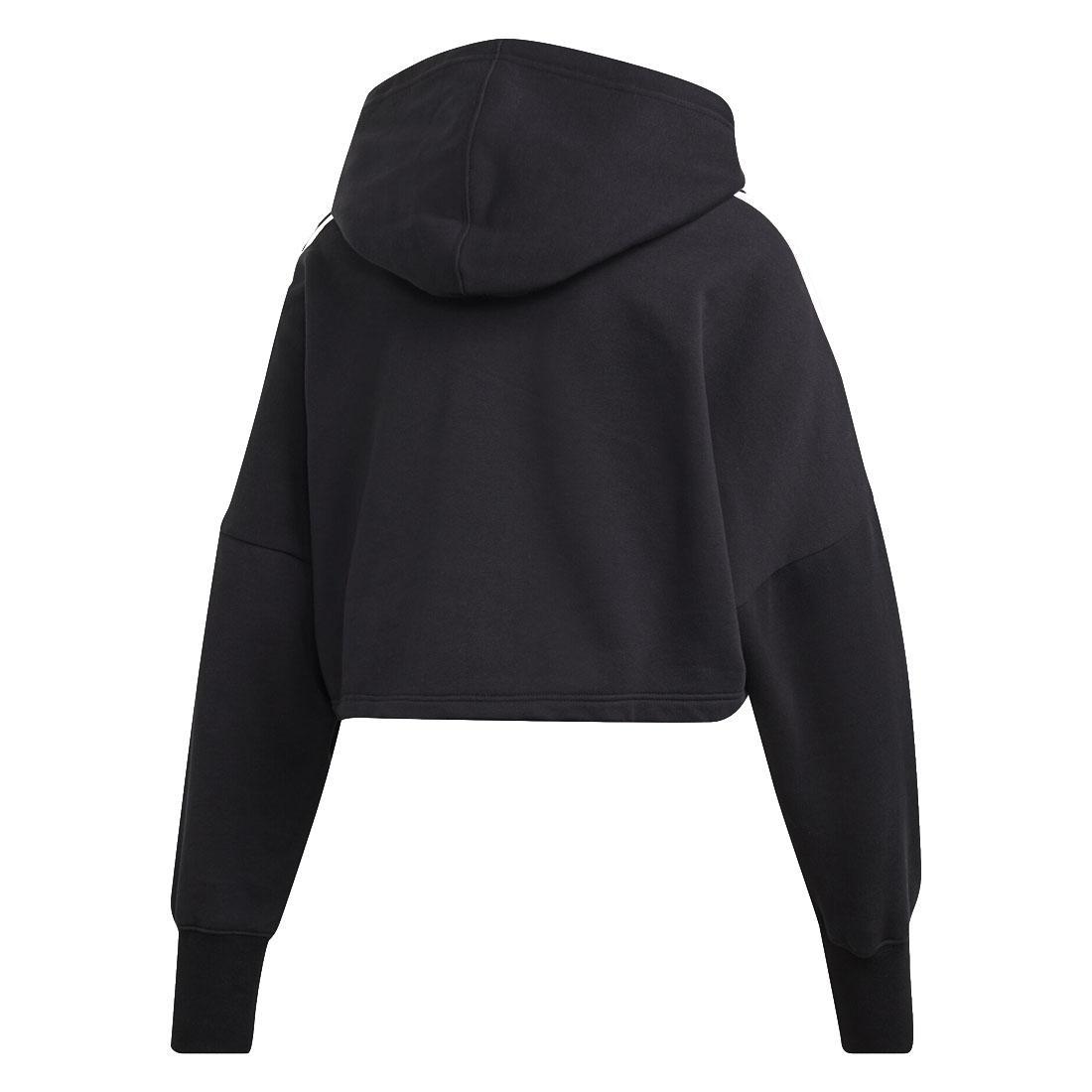 united states big discount classic fit Détails sur Adidas Originaux Femmes Noir Blanc Court Capuche Femmes 3  Rayure Sweat