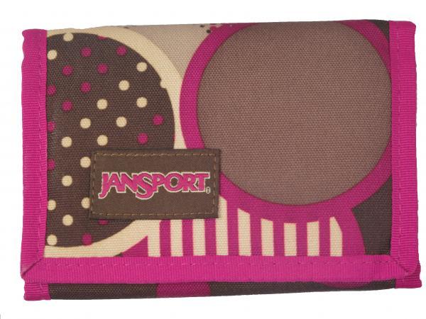 Jansport Purse Wallet Unisex Brown Purple Chocchip Zip Around Folding Purse