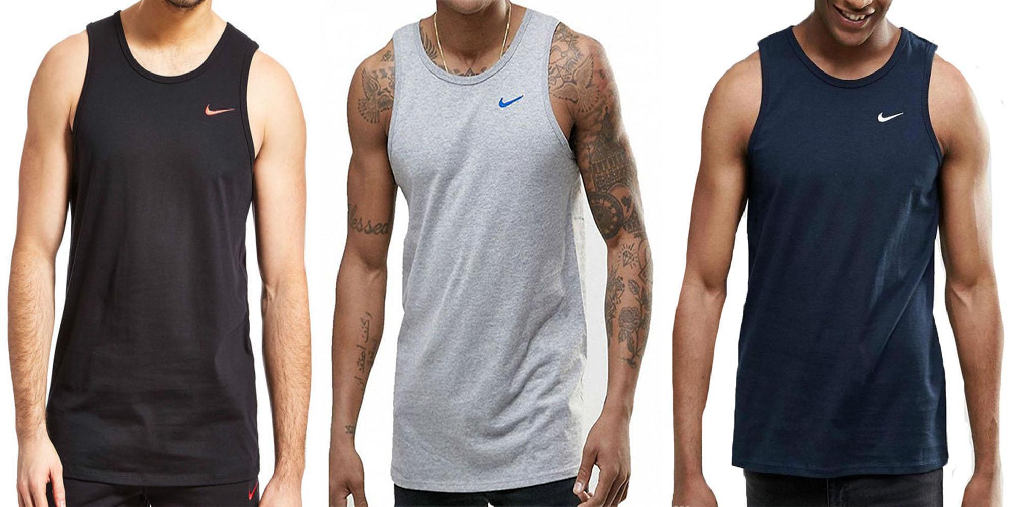 Superficial cráneo cajón  Nike Swoosh Hombre Negro Gris Camiseta Azul Retro SPORTS Gym sin Mangas  Tanque | eBay