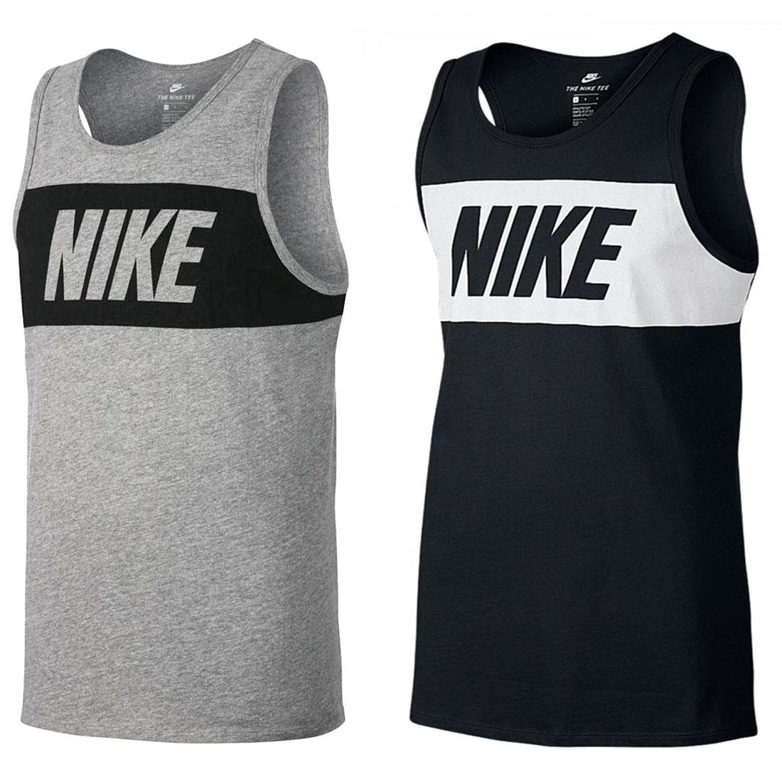 7a24467c6f28c3 Details about Nike Mens Grey Black Vest Retro Big Logo Sports Gym Sleeveless  Tank Top L XL