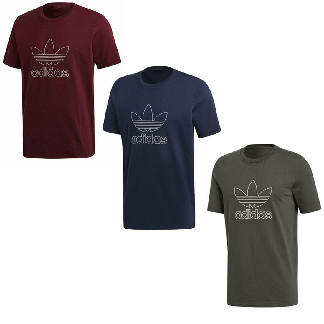 Detalles de Adidas Originals Contorno Camiseta Hombre Trébol Gimnasio Sports Moda Bordado