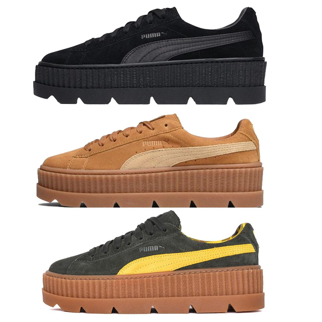 23a61884d386 PUMA Fenty X Rihanna Cleated Creeper Shoes Ladies Black Brown Green Trainers