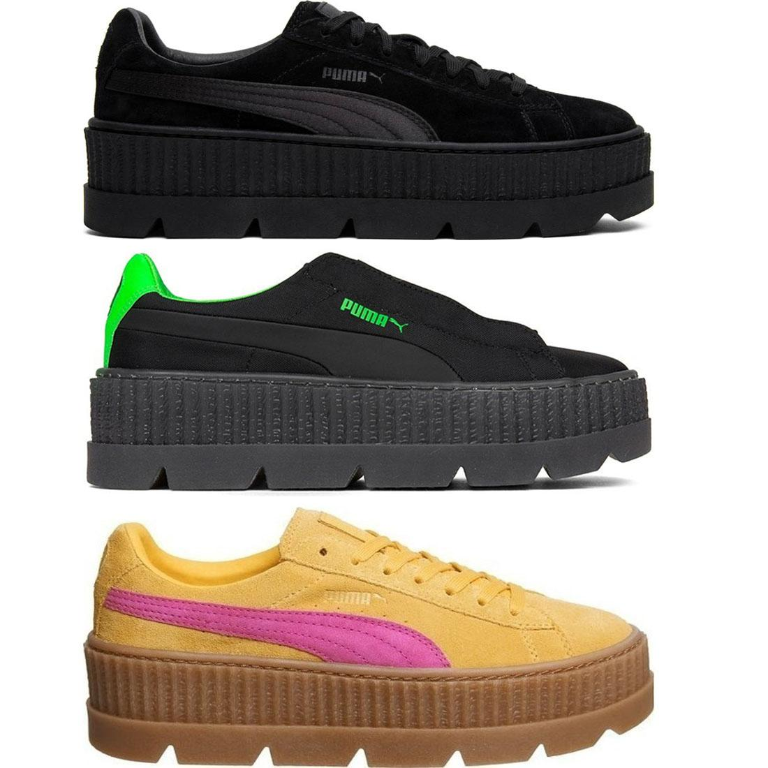 59854fb7916e91 Details about PUMA Fenty X Rihanna Cleated Creeper Ladies Suede Black Green  Yellow Trainers