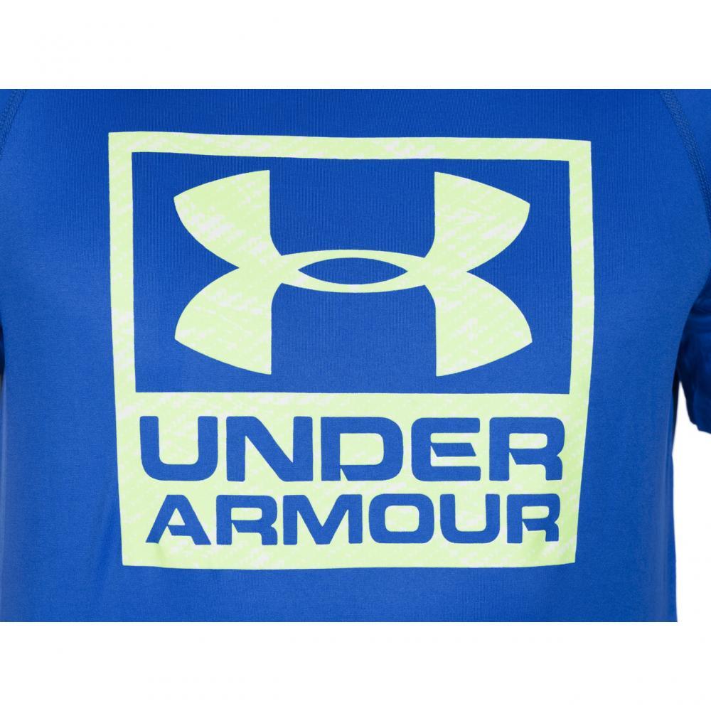 Under Armour UA tech men's blue boxed logo heat gear gym ...