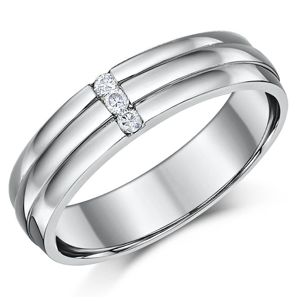 Scott Kay Palladium Engraved Three Sided Diamond Wedding: Palladium Diamond Wedding Ring Band Grooved Three Diamond