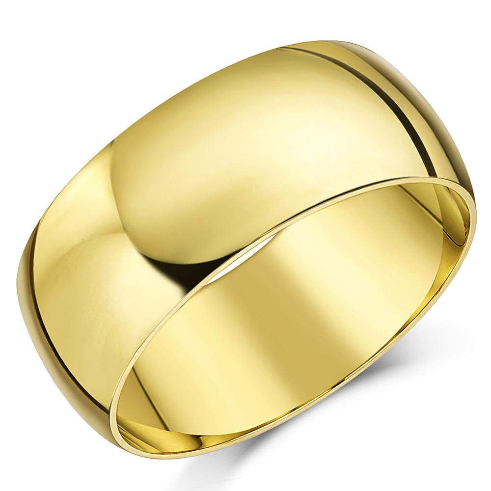 9ct Yellow Gold Ring Light Weight D Shaped Wedding Band 4mm Men/'s Ladies Ring