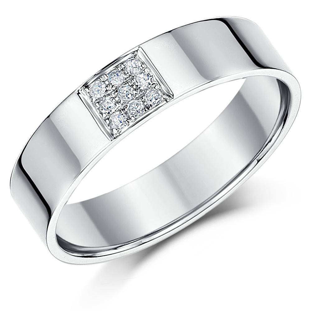 9ct White Gold Diamond Ring 5mm Flat Court Diamond Wedding Ring Band