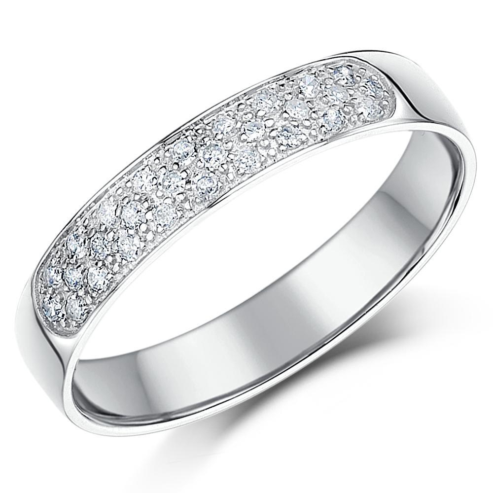 9 ct bague mariage or blanc diamant 4mm 28point diamant anneau bague mariage ebay. Black Bedroom Furniture Sets. Home Design Ideas
