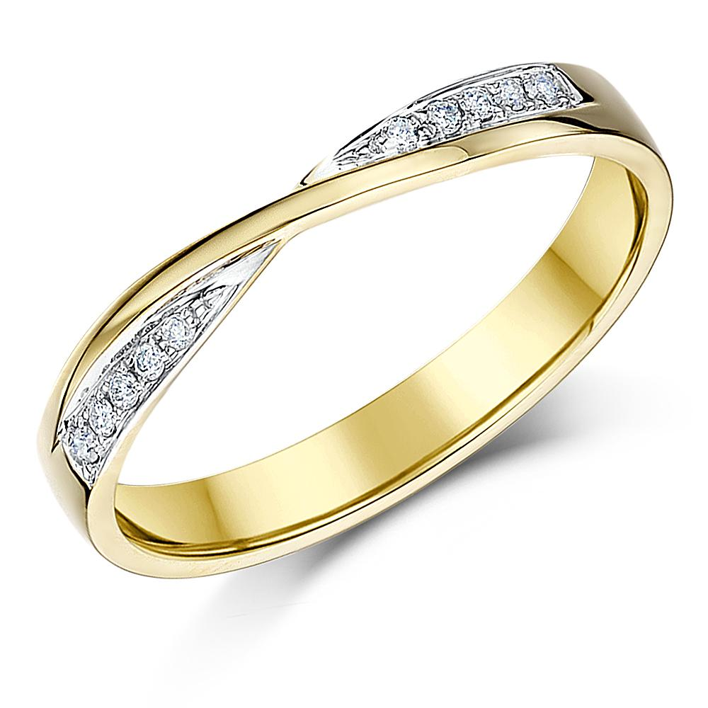Wedding Golden Rings: 9ct Yellow Gold Wedding Ring Crossover Diamond 3mm Ring