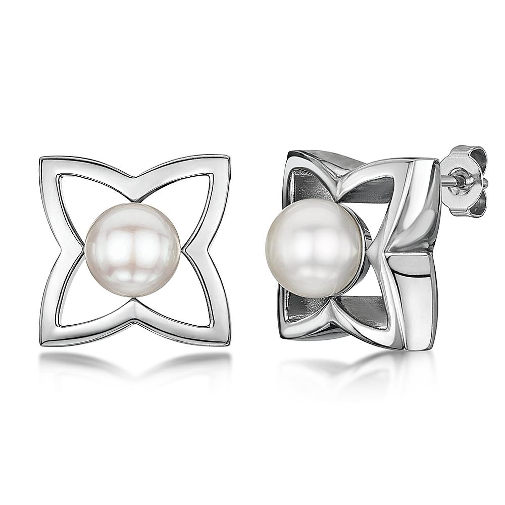 e776009fc34 Details about Titanium Large Earrings Flower Pearl Statement Stud Earrings  16 x 16mm