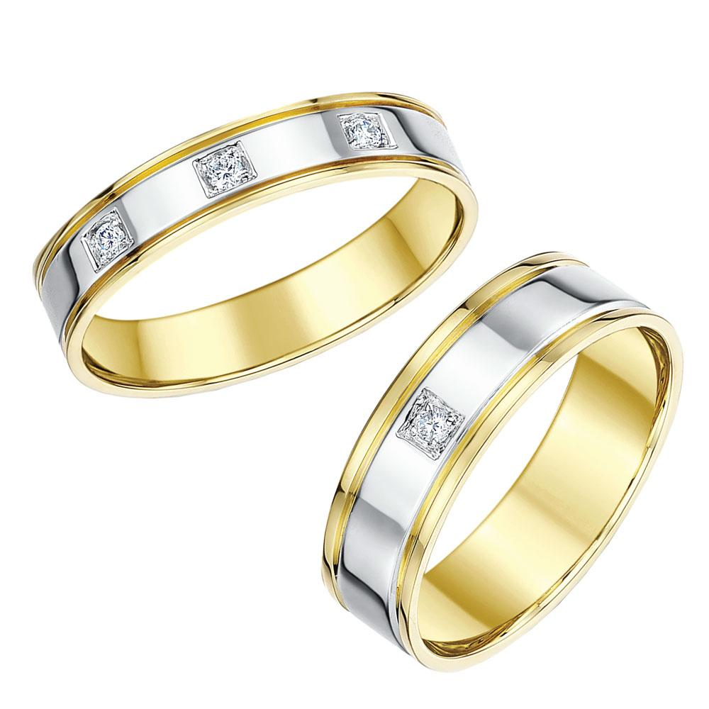 wedding rings ebay his amp hers wedding rings 18ct two colour 4 amp 6mm 1023