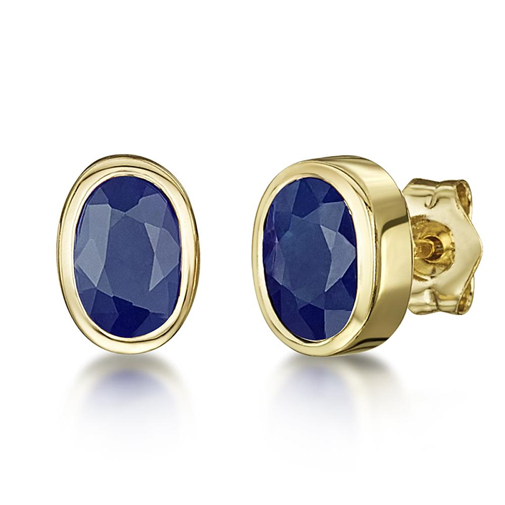 9ct yellow gold earrings blue sapphire rubover set oval. Black Bedroom Furniture Sets. Home Design Ideas