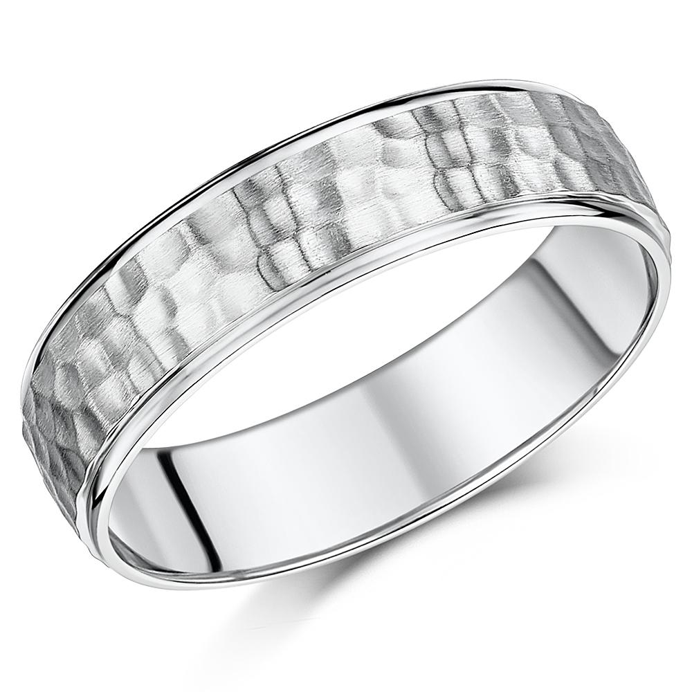 "Palladium Ring Hammered Design 6mm Band ""SALE"""