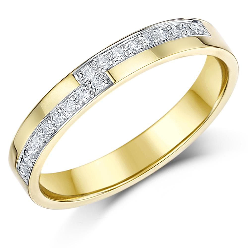 9ct yellow gold diamond ring set 18pt wedding 3mm ring for 9ct gold wedding ring sets