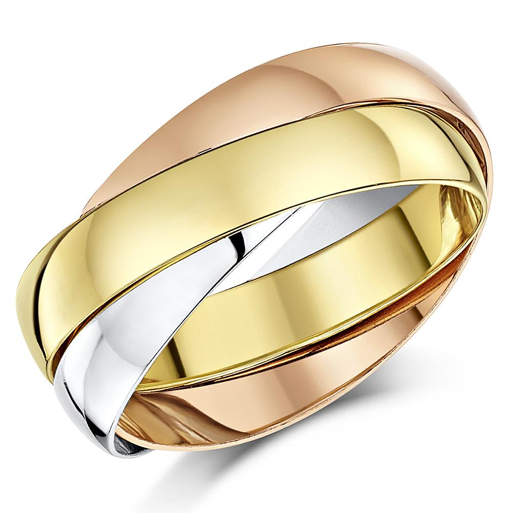 9ct Russian Wedding Ring Multi Tone 3 Colour Gold Band