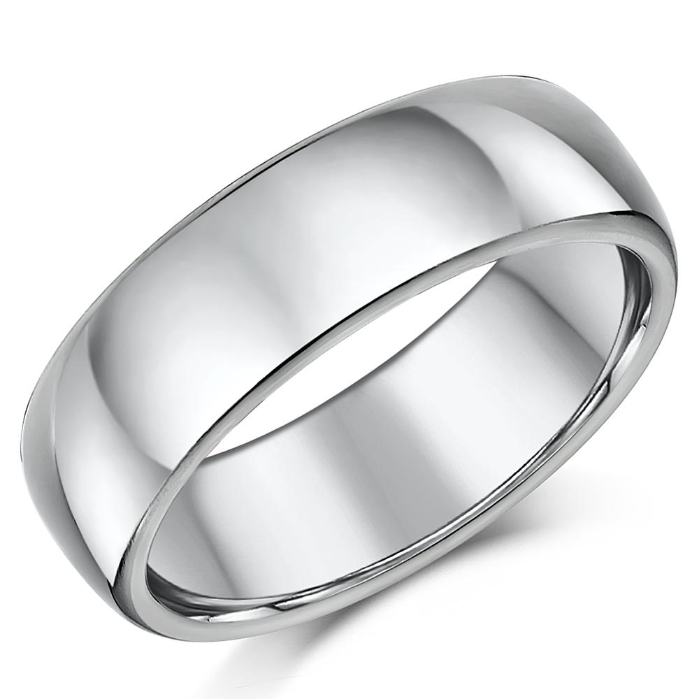 Titanium Wedding Ring Band Highly Polished Court Shaped