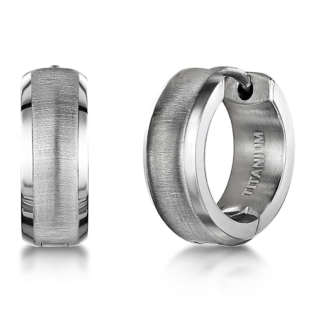 silver hoop earring for men men/'s jewelry in brushed stainless steel.