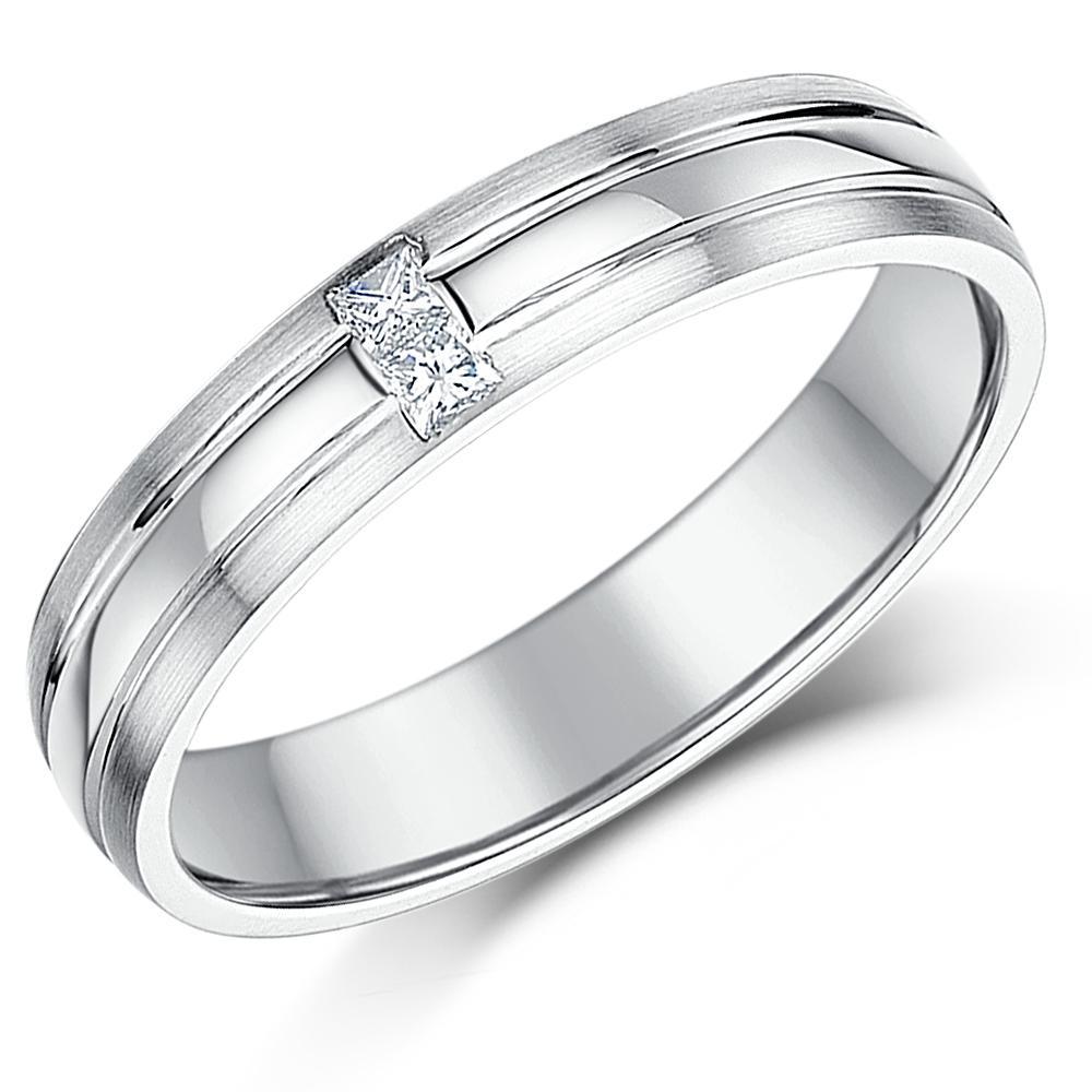 df6c63f8c579 9ct oro blanco diamante anillo 4mm princesa cortó el anillo de bodas