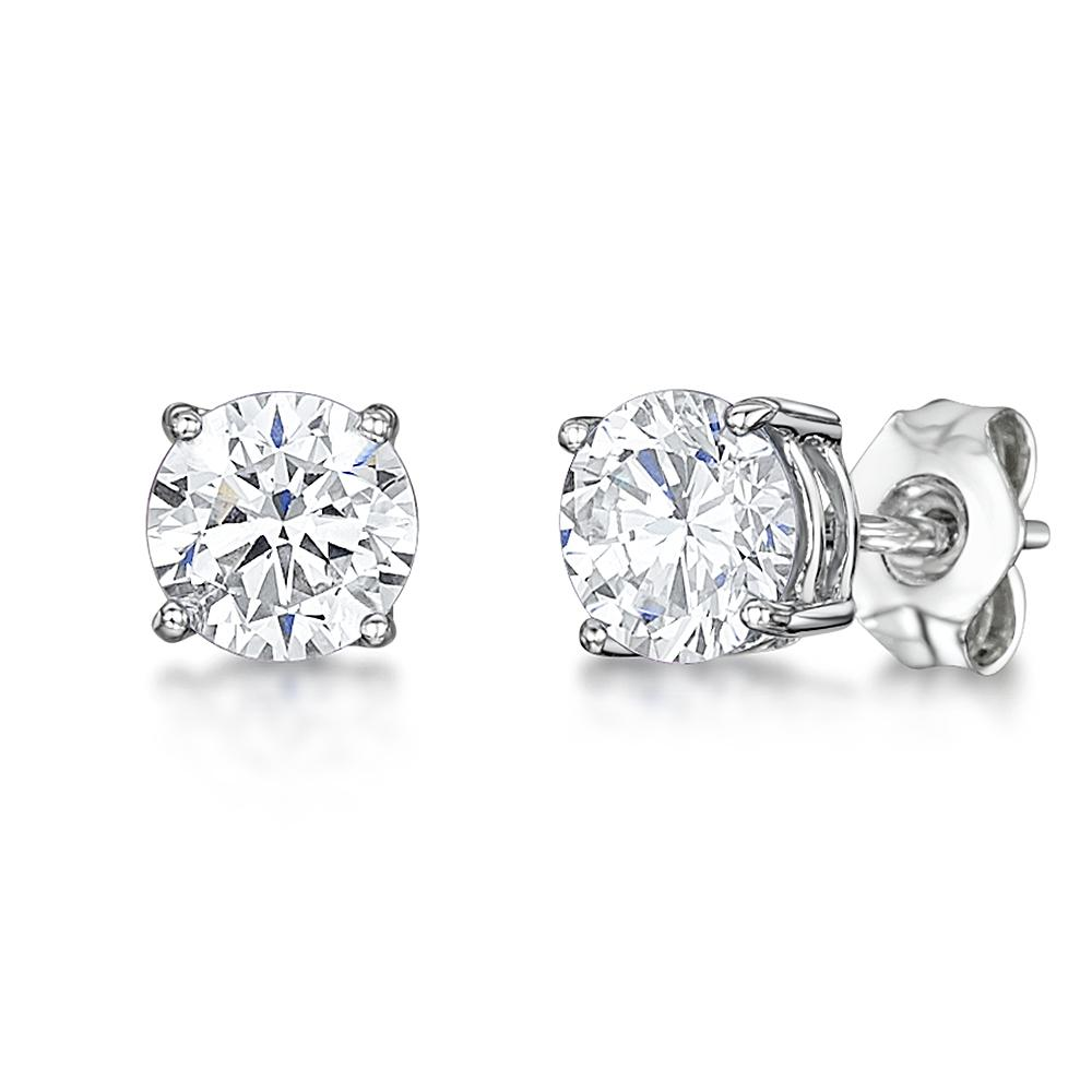 New Ladies 9ct 9Carat White Gold Round Sapphire Studs Earrings 4mm Hallmarked