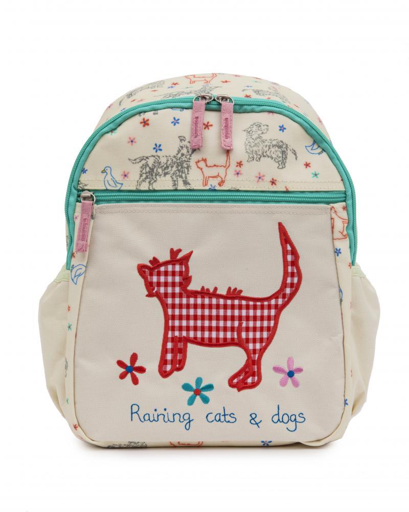 Pink Lining Children/'s Medium Rucksack New Design Raining Cats /& Dogs