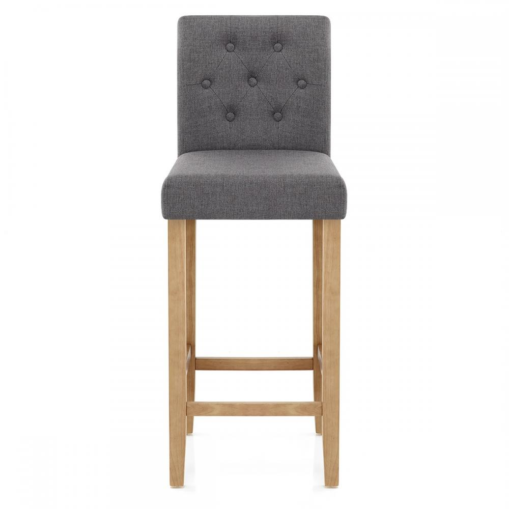 Clearance brookes charcoal fabric oak bar stool kacp058 for Bar stools clearance