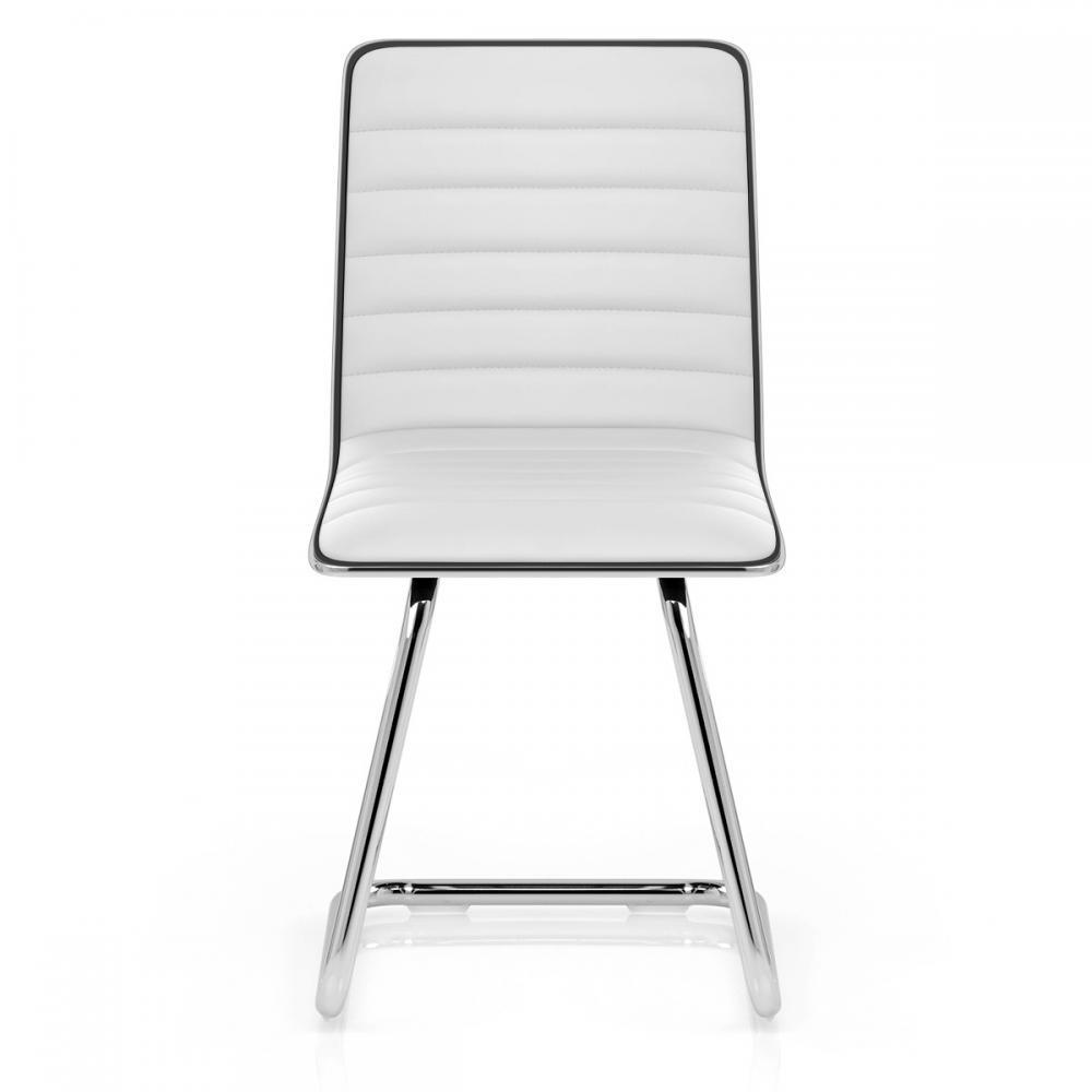 Auction set of 3 vesta white padded chrome dining chairs for White chrome dining chairs