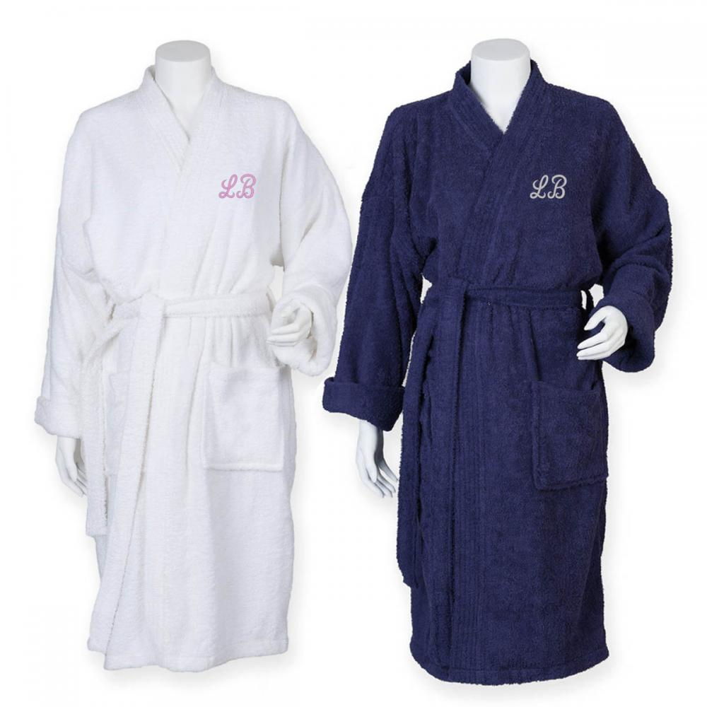 fc39dd07b7 Details about Personalised Unisex Towelling Kimono Bath Robe Gown with  Embroidered Initials