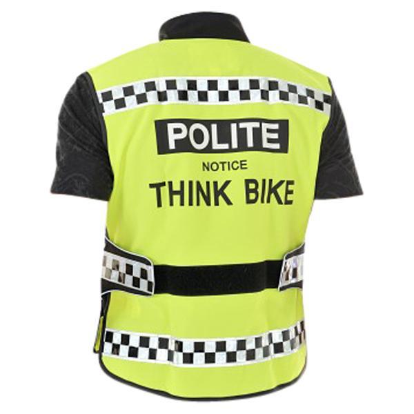 THINK BIKE MOPED RIDER HI-VIZ SAFETY VEST POLITE NOTICE THINK BIKE !