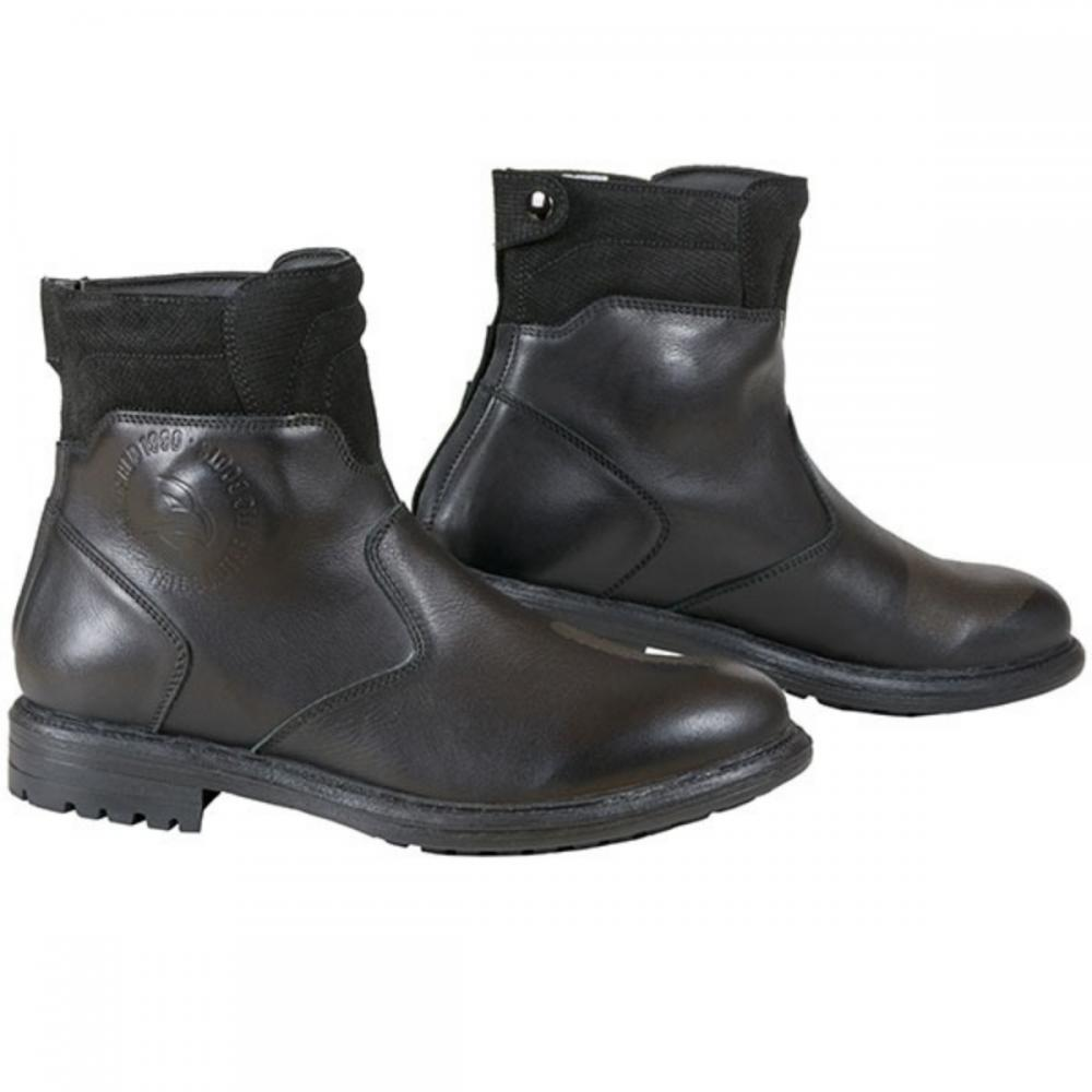 Short Style Ankle Motorcycle Leather Boots Black, UK 11//Euro 45