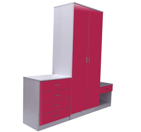 Details About White 3 Piece Storage Drawers Twin Bed Box: Red Gloss White Bedroom Furniture Set 3 Piece Trio