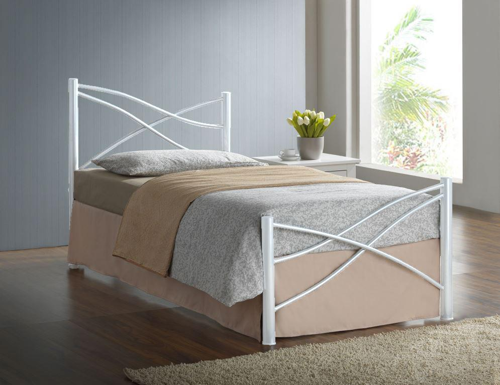 3ft Single Modern Metal Bed Frame In Silver White Or Pink