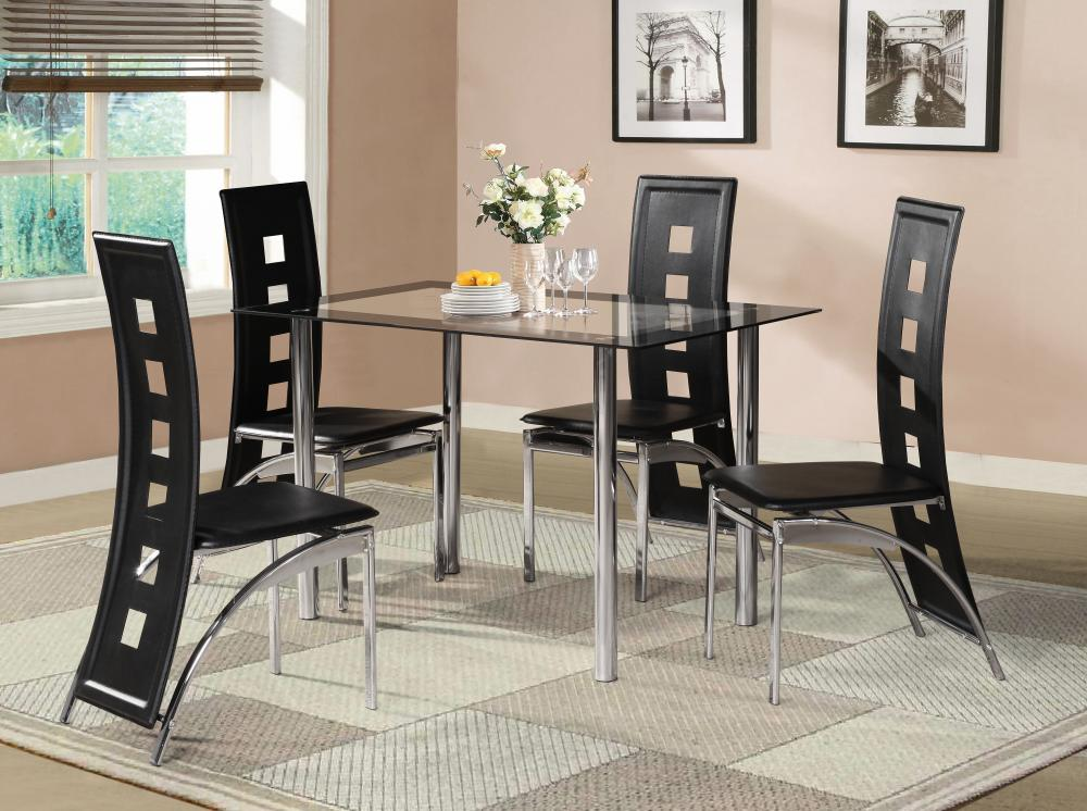 8369beb00ea43 Black Glass Dining Room Table Set and with 4 or 6 Faux Leather Chrome NEW