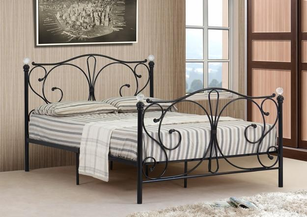 39667521ae5e 4ft, 4ft6 Double & 5ft King Black or White Metal Bed Frame With Crystal  Finials