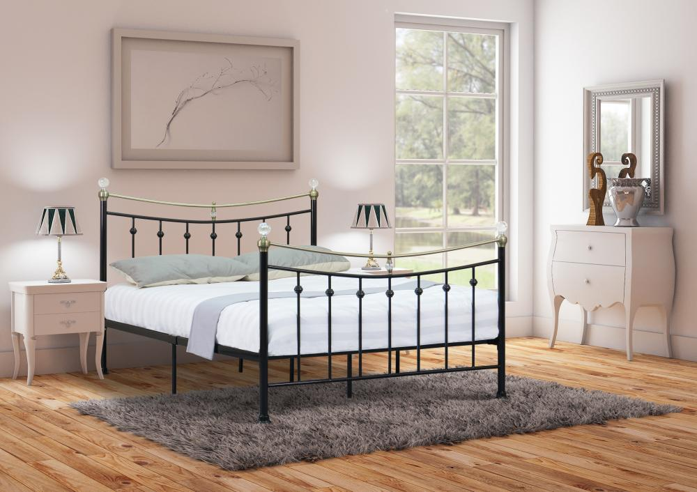 4ft 4ft6 Double 5ft King White Or Black Metal Bed With